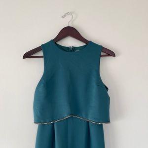 Teal evening sleeveless dress w/ embellished dress